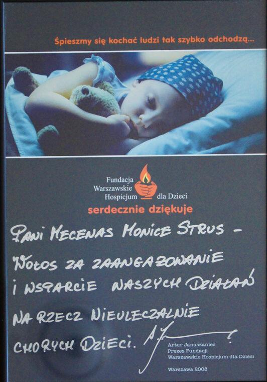 podziękowania od prezesa warszawskiego hospicjum dla dzieci dla mecenas strus wołos