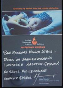 podziękowanie za zaangażowanie i wsparcie na rzecz nieuleczalnie chorych dzieci